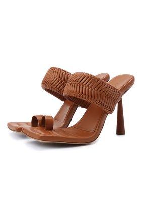 Женские кожаные мюли GIA COUTURE темно-коричневого цвета, арт. R0SIE-1 A 104 | Фото 1