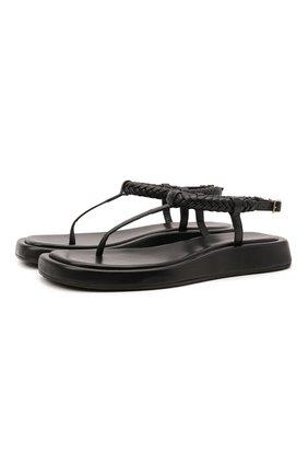 Женские кожаные сандалии GIA COUTURE черного цвета, арт. R0SIE-3 A 107 | Фото 1