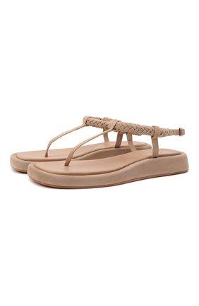 Женские кожаные сандалии GIA COUTURE кремвого цвета, арт. R0SIE-3 A 208 | Фото 1