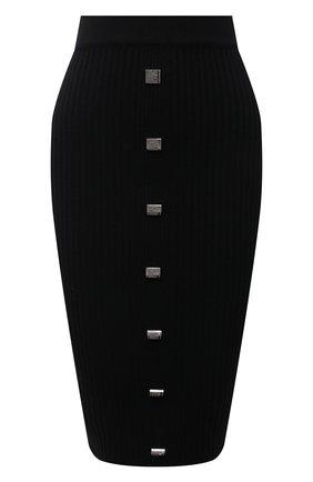 Женская юбка GIUSEPPE DI MORABITO черного цвета, арт. PF21105KN-146 | Фото 1 (Материал внешний: Шелк, Шерсть; Женское Кросс-КТ: Юбка-одежда, Юбка-карандаш; Стили: Кэжуэл; Длина Ж (юбки, платья, шорты): До колена)