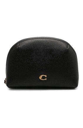 Женская кожаная косметичка COACH черного цвета, арт. C3489   Фото 1
