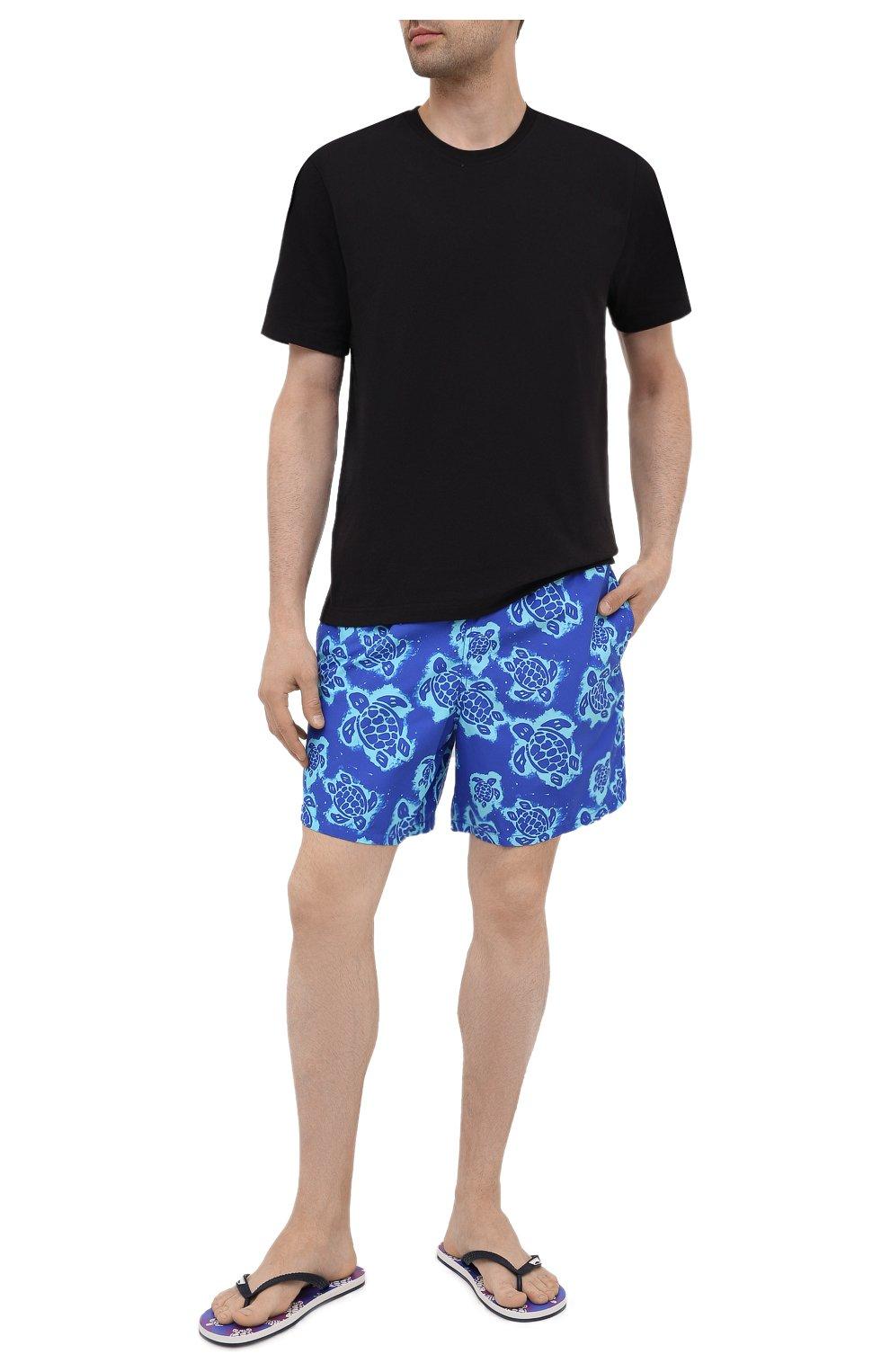 Мужские плавки-шорты VILEBREQUIN синего цвета, арт. MOOH1B03/314   Фото 2 (Материал внешний: Синтетический материал; Принт: С принтом; Мужское Кросс-КТ: плавки-шорты)