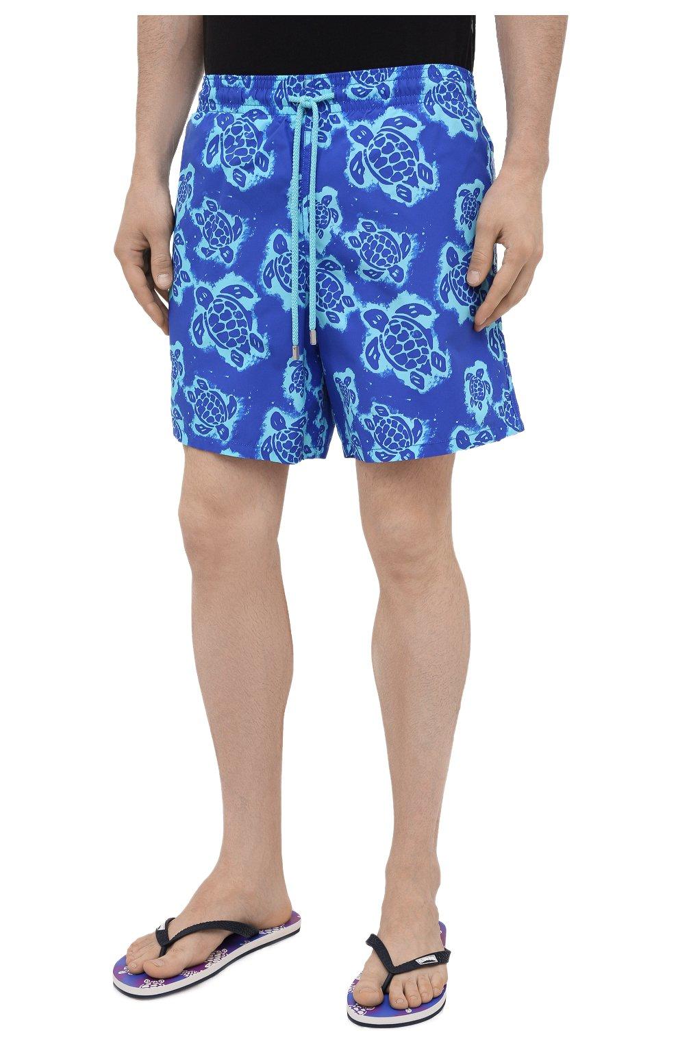 Мужские плавки-шорты VILEBREQUIN синего цвета, арт. MOOH1B03/314   Фото 3 (Материал внешний: Синтетический материал; Принт: С принтом; Мужское Кросс-КТ: плавки-шорты)