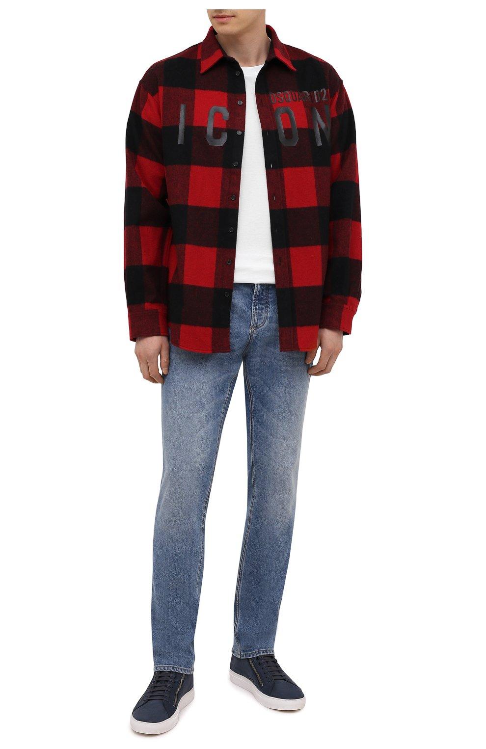 Мужские кожаные кеды HUGO темно-синего цвета, арт. 50433527   Фото 2 (Подошва: Массивная)