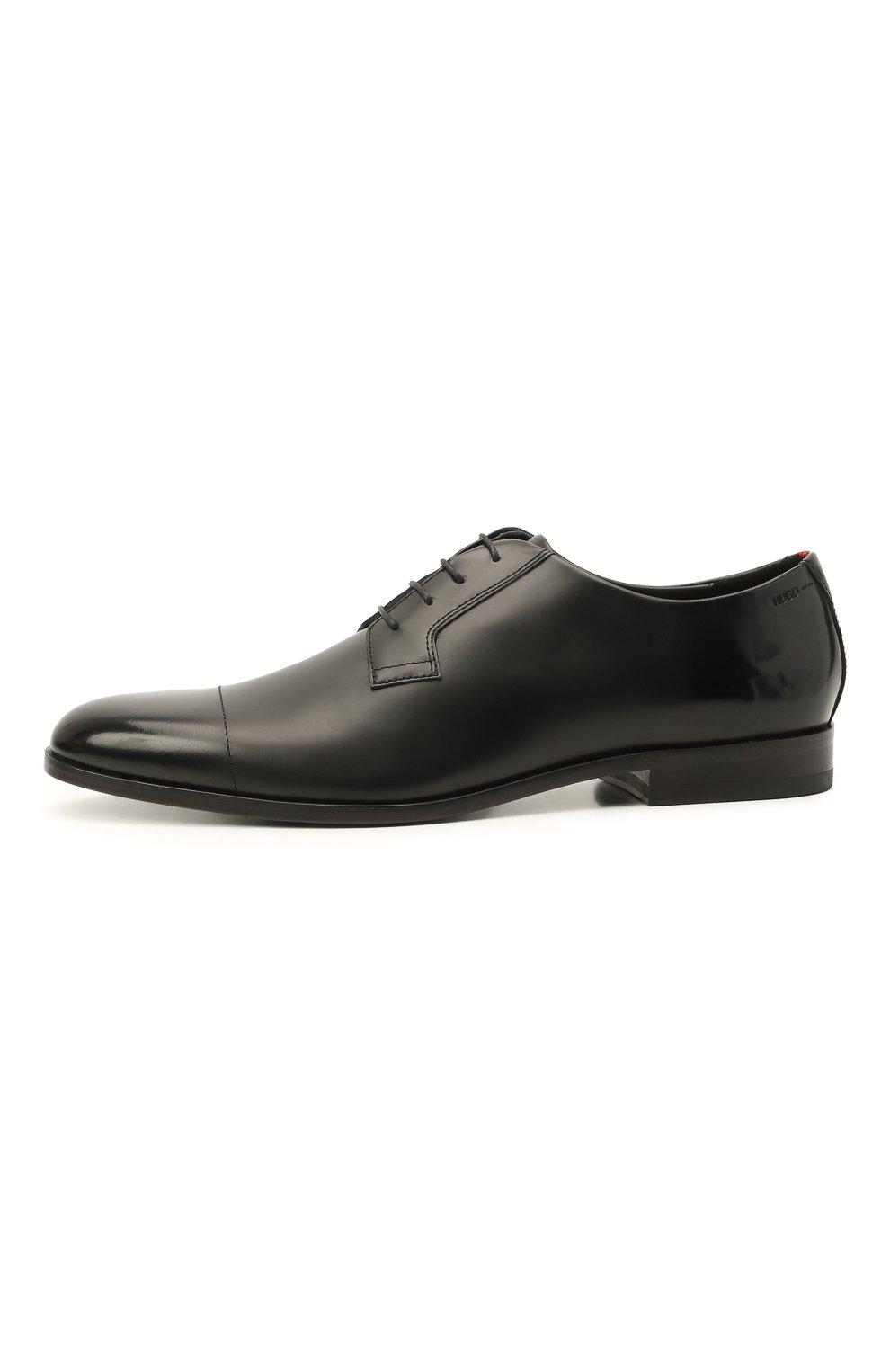 Мужские кожаные дерби HUGO черного цвета, арт. 50455207 | Фото 3 (Стили: Классический)