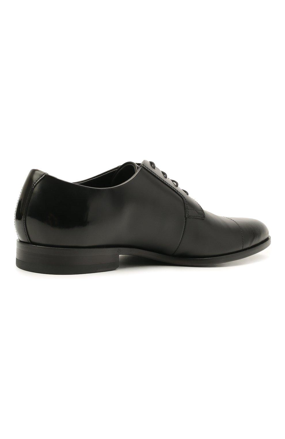Мужские кожаные дерби HUGO черного цвета, арт. 50455207 | Фото 4 (Стили: Классический)