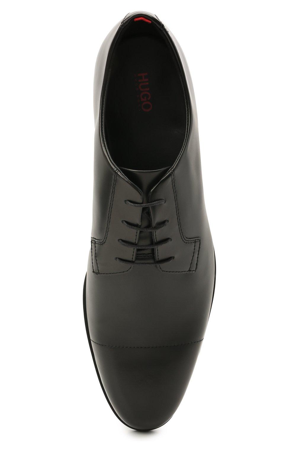 Мужские кожаные дерби HUGO черного цвета, арт. 50455207 | Фото 5 (Стили: Классический)