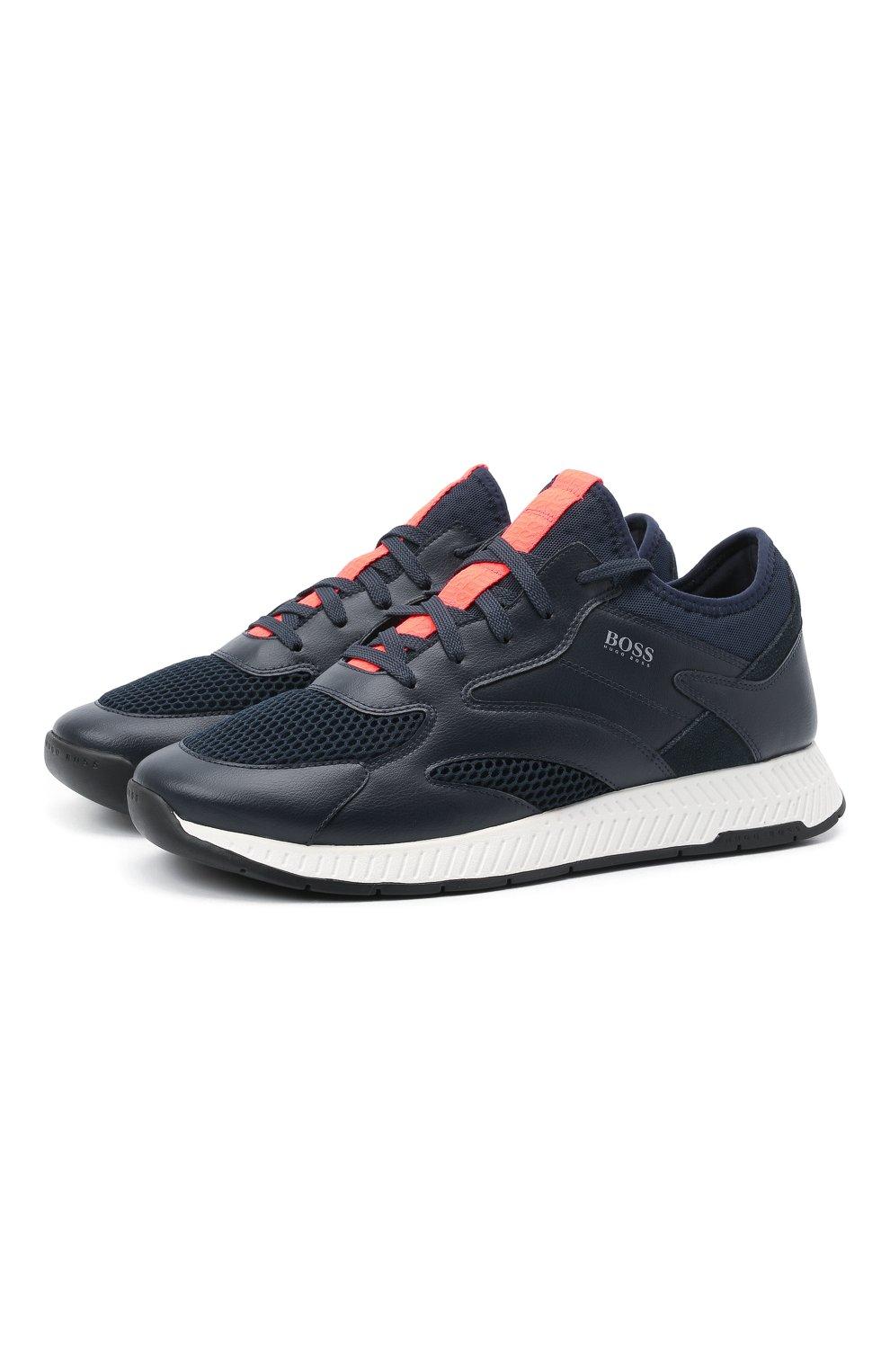 Мужские комбинированные кроссовки BOSS темно-синего цвета, арт. 50455539 | Фото 1