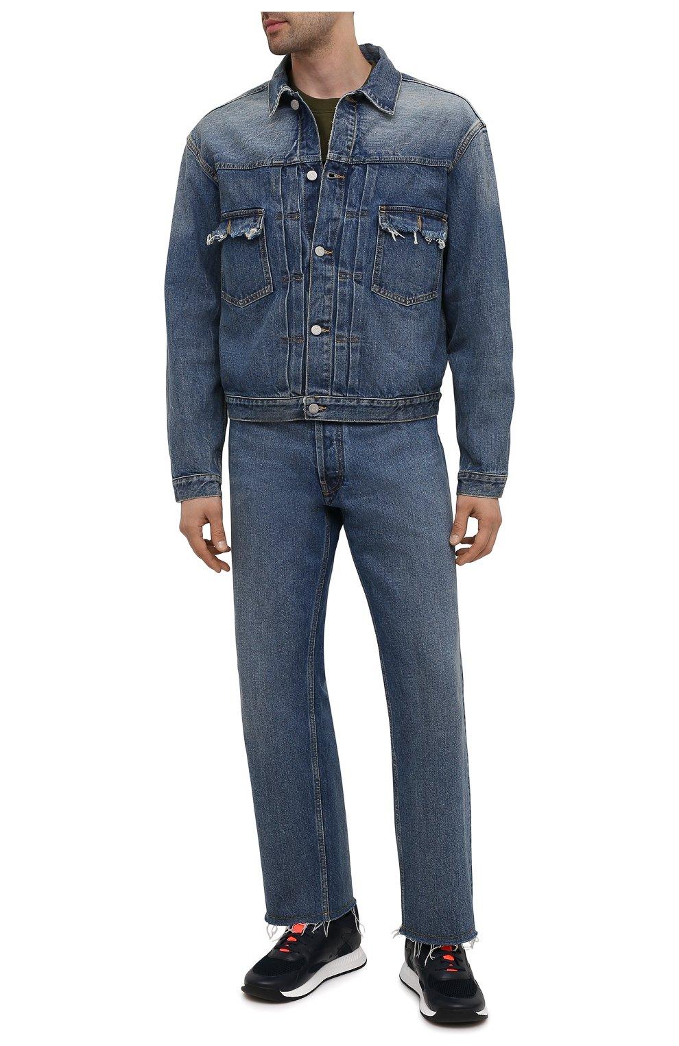 Мужские комбинированные кроссовки BOSS темно-синего цвета, арт. 50455539 | Фото 2