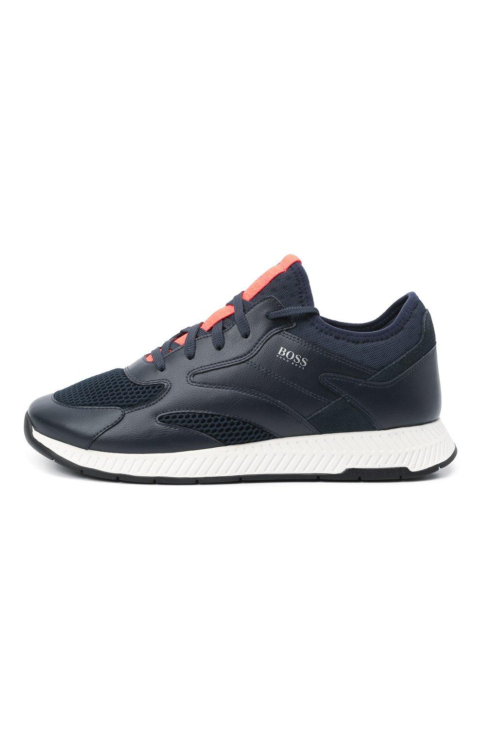 Мужские комбинированные кроссовки BOSS темно-синего цвета, арт. 50455539 | Фото 3