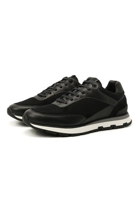 Мужские комбинированные кроссовки BOSS черного цвета, арт. 50452595 | Фото 1 (Материал внешний: Текстиль; Стили: Спорт; Подошва: Массивная)