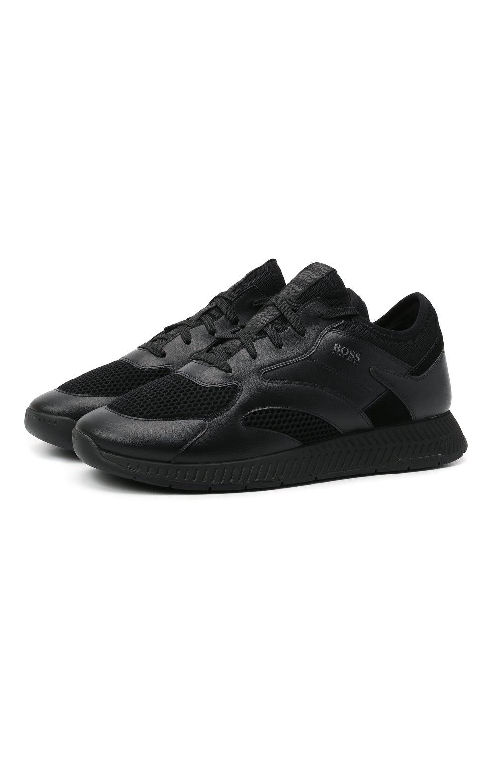 Мужские комбинированные кроссовки BOSS черного цвета, арт. 50455539   Фото 1