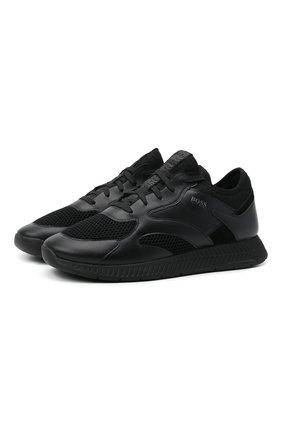 Мужские комбинированные кроссовки BOSS черного цвета, арт. 50455539 | Фото 1 (Материал внешний: Текстиль; Подошва: Массивная; Стили: Спорт)