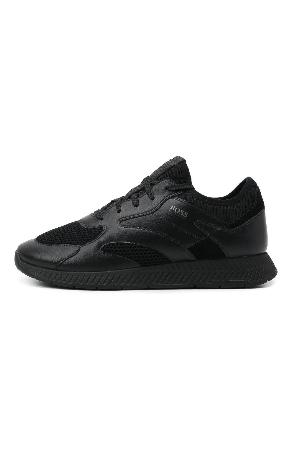 Мужские комбинированные кроссовки BOSS черного цвета, арт. 50455539   Фото 3