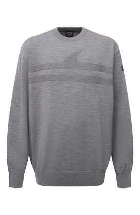 Мужской шерстяной свитер PAUL&SHARK серого цвета, арт. 11311333/FLV/3XL-6XL   Фото 1