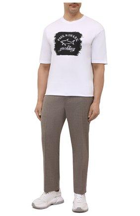 Мужская хлопковая футболка PAUL&SHARK белого цвета, арт. 11311604/C00/3XL-6XL | Фото 2 (Рукава: Короткие; Материал внешний: Хлопок; Стили: Кэжуэл; Принт: С принтом; Длина (для топов): Удлиненные)