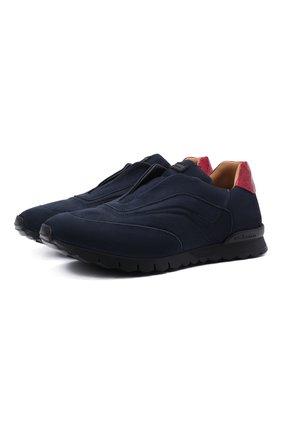 Мужские кожаные кроссовки с отделкой из кожи аллигатора KITON темно-синего цвета, арт. USSFREEN00680/AMIS/12-16 | Фото 1