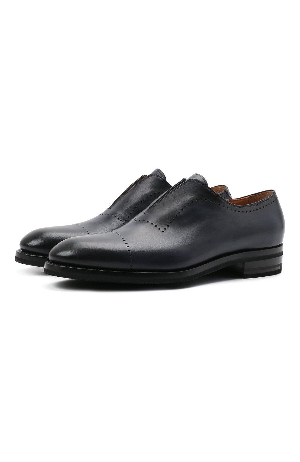 Мужские кожаные лоферы KITON темно-синего цвета, арт. USSMARIN00100/13-16 | Фото 1 (Мужское Кросс-КТ: Лоферы-обувь; Материал внутренний: Натуральная кожа; Стили: Классический)