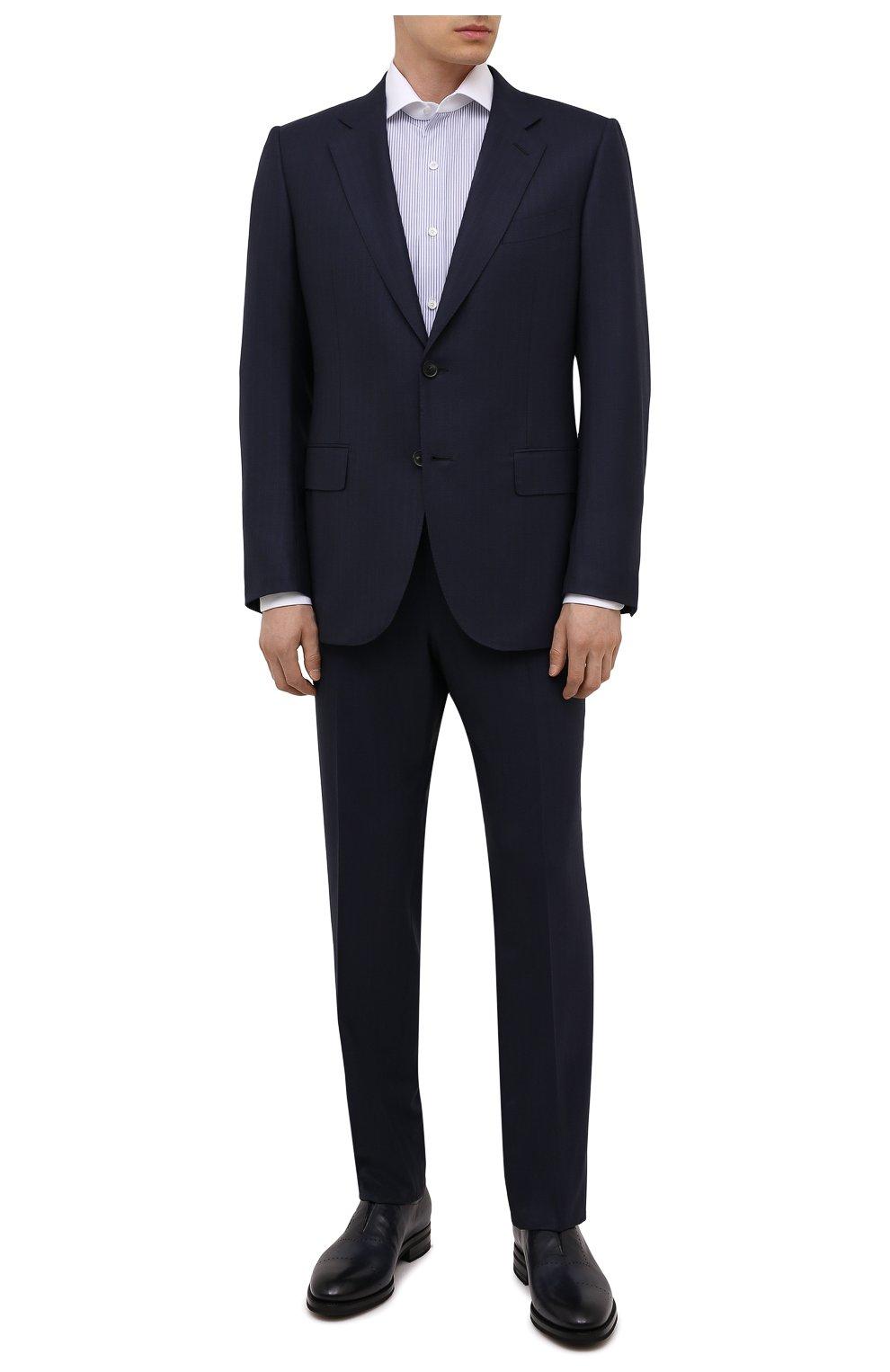 Мужские кожаные лоферы KITON темно-синего цвета, арт. USSMARIN00100/13-16 | Фото 2 (Мужское Кросс-КТ: Лоферы-обувь; Материал внутренний: Натуральная кожа; Стили: Классический)