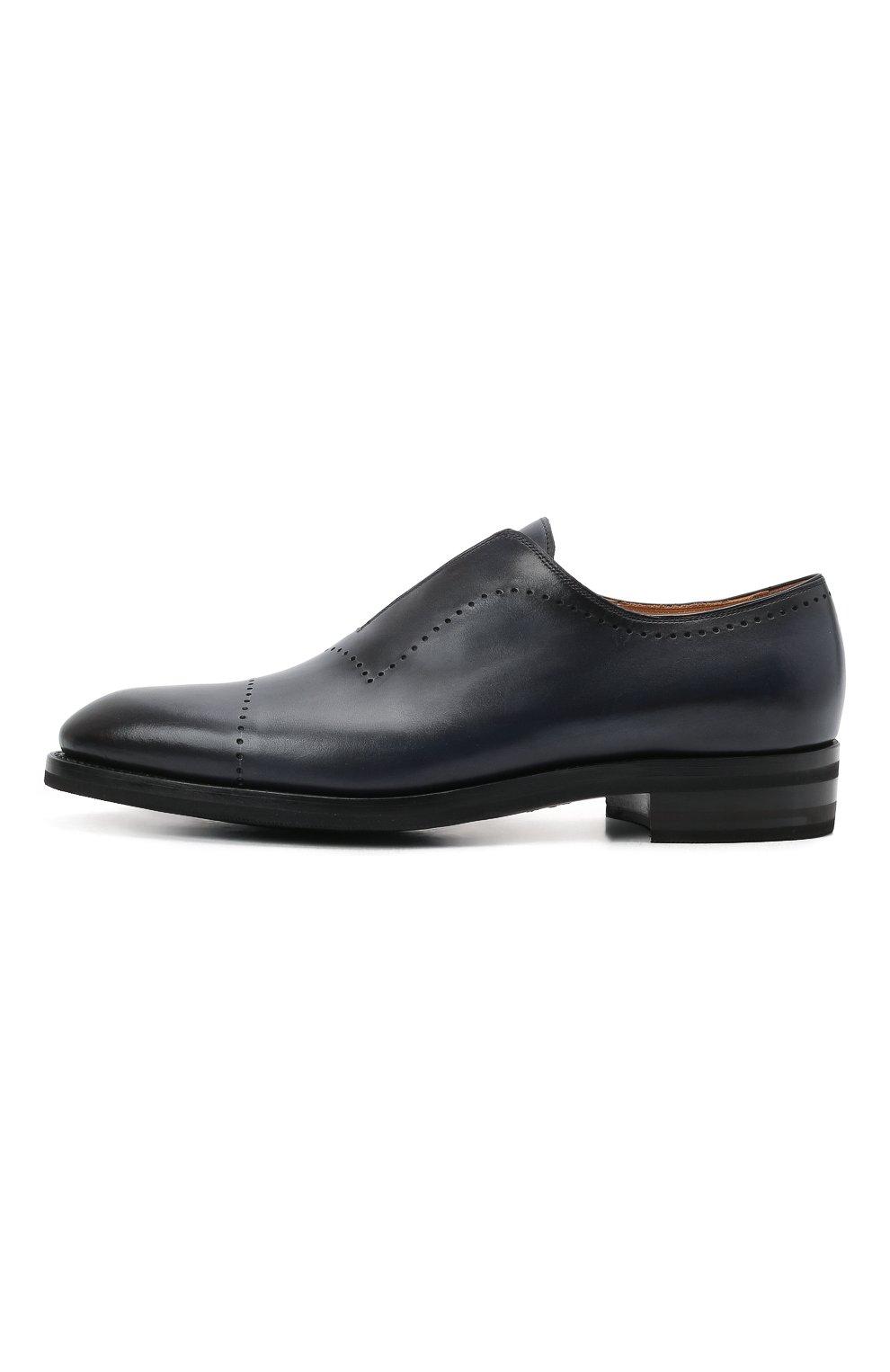 Мужские кожаные лоферы KITON темно-синего цвета, арт. USSMARIN00100/13-16 | Фото 3 (Мужское Кросс-КТ: Лоферы-обувь; Материал внутренний: Натуральная кожа; Стили: Классический)