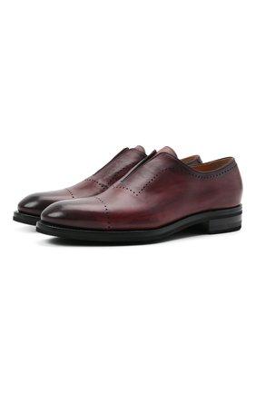 Мужские кожаные лоферы KITON бордового цвета, арт. USSMARIN00100/13-16 | Фото 1 (Материал внутренний: Натуральная кожа; Мужское Кросс-КТ: Лоферы-обувь; Стили: Классический)