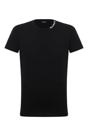 Мужская хлопковая футболка BALMAIN черного цвета, арт. WH1EF006/B129   Фото 1 (Рукава: Короткие; Длина (для топов): Стандартные; Материал внешний: Хлопок; Принт: Без принта; Стили: Кэжуэл)