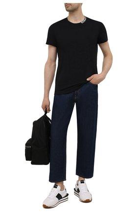 Мужская хлопковая футболка BALMAIN черного цвета, арт. WH1EF006/B129   Фото 2 (Рукава: Короткие; Длина (для топов): Стандартные; Материал внешний: Хлопок; Принт: Без принта; Стили: Кэжуэл)