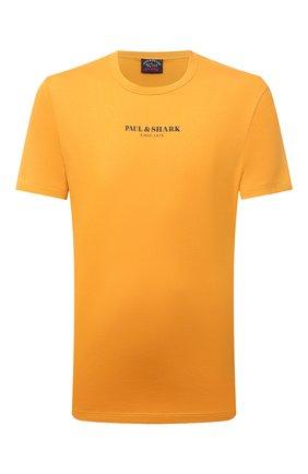 Мужская хлопковая футболка PAUL&SHARK оранжевого цвета, арт. 11311629/C00 | Фото 1