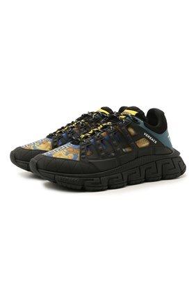 Мужские комбинированные кроссовки trigreca VERSACE разноцветного цвета, арт. DSU8094/1A00838 | Фото 1 (Материал внутренний: Текстиль; Материал внешний: Текстиль; Подошва: Массивная; Стили: Гранж)