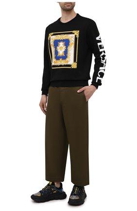Мужские комбинированные кроссовки trigreca VERSACE разноцветного цвета, арт. DSU8094/1A00838 | Фото 2 (Материал внутренний: Текстиль; Материал внешний: Текстиль; Подошва: Массивная; Стили: Гранж)