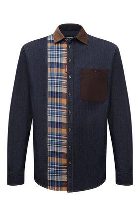 Мужская комбинированная рубашка DSQUARED2 темно-синего цвета, арт. S74DM0544/S30341 | Фото 1