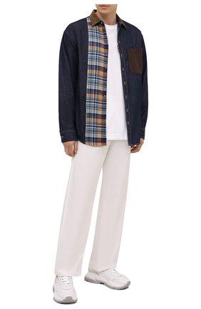 Мужская комбинированная рубашка DSQUARED2 темно-синего цвета, арт. S74DM0544/S30341 | Фото 2