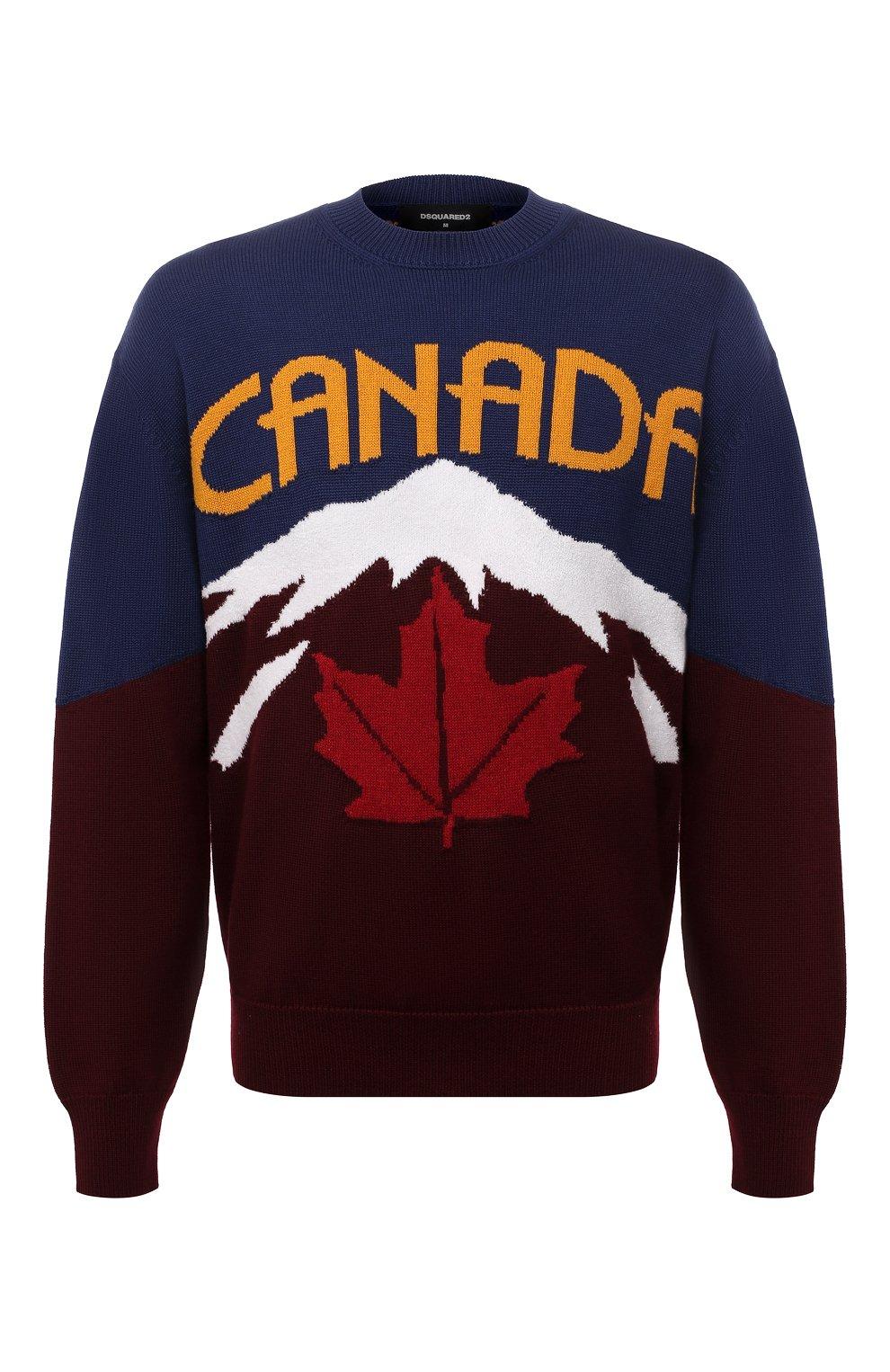 Мужской свитер из шерсти и кашемира DSQUARED2 разноцветного цвета, арт. S74HA1194/S17777 | Фото 1 (Материал внешний: Шерсть; Рукава: Длинные; Длина (для топов): Стандартные)