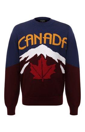 Мужской свитер из шерсти и кашемира DSQUARED2 разноцветного цвета, арт. S74HA1194/S17777 | Фото 1 (Длина (для топов): Стандартные; Материал внешний: Шерсть; Рукава: Длинные)