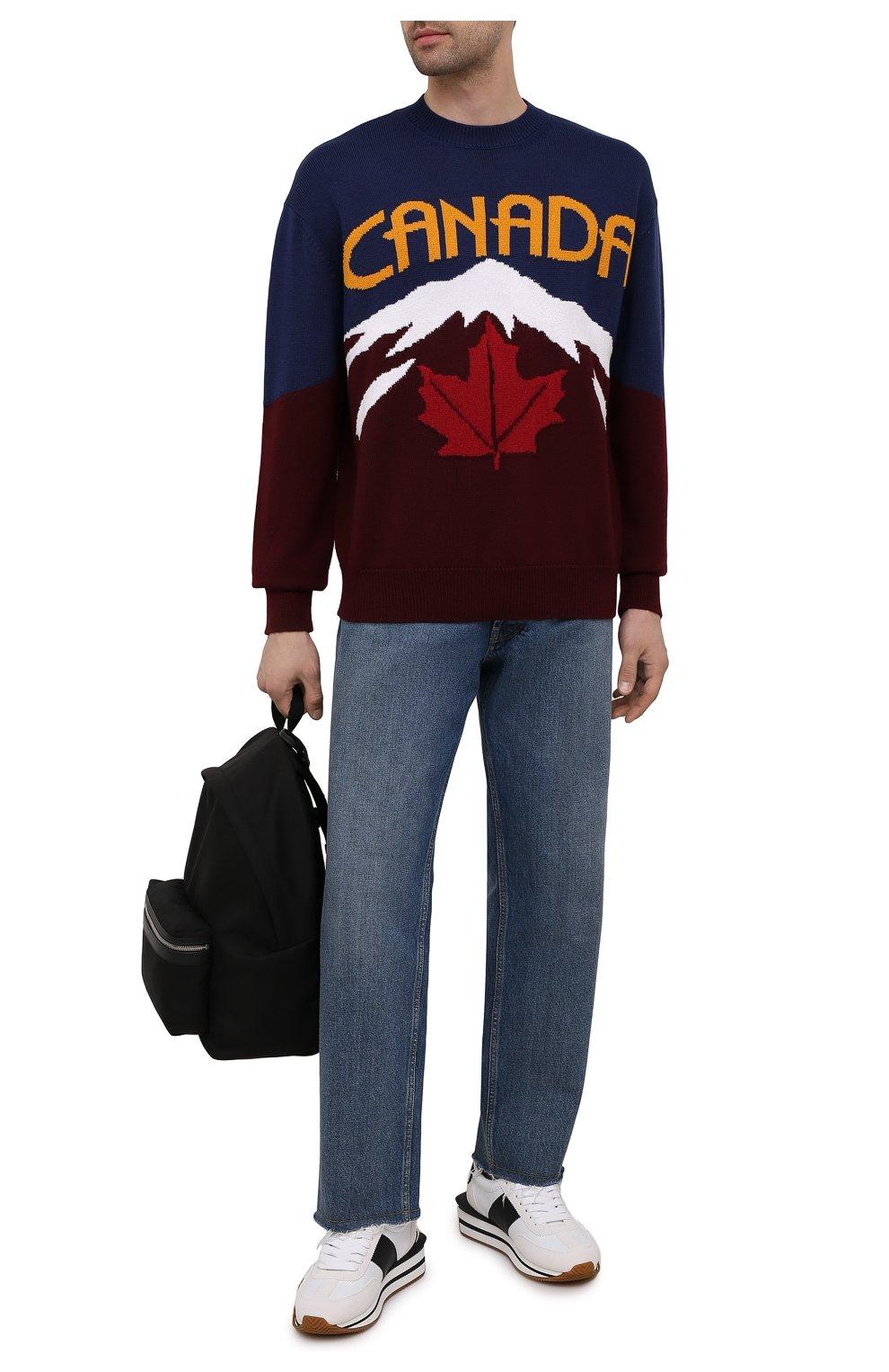 Мужской свитер из шерсти и кашемира DSQUARED2 разноцветного цвета, арт. S74HA1194/S17777 | Фото 2 (Материал внешний: Шерсть; Рукава: Длинные; Длина (для топов): Стандартные)