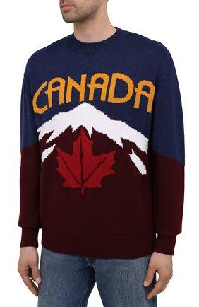 Мужской свитер из шерсти и кашемира DSQUARED2 разноцветного цвета, арт. S74HA1194/S17777 | Фото 3 (Материал внешний: Шерсть; Рукава: Длинные; Длина (для топов): Стандартные)