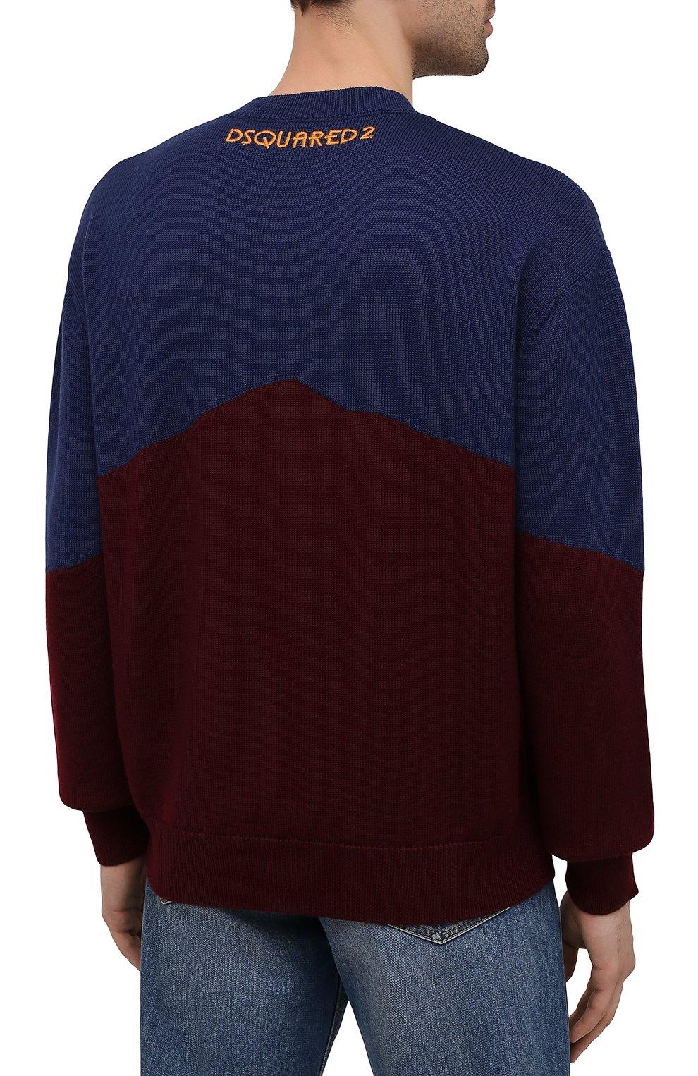 Мужской свитер из шерсти и кашемира DSQUARED2 разноцветного цвета, арт. S74HA1194/S17777 | Фото 4 (Материал внешний: Шерсть; Рукава: Длинные; Длина (для топов): Стандартные)