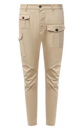 Мужские хлопковые брюки DSQUARED2 бежевого цвета, арт. S74KB0593/S39021 | Фото 1 (Материал внешний: Хлопок; Случай: Повседневный; Стили: Кэжуэл; Длина (брюки, джинсы): Укороченные)