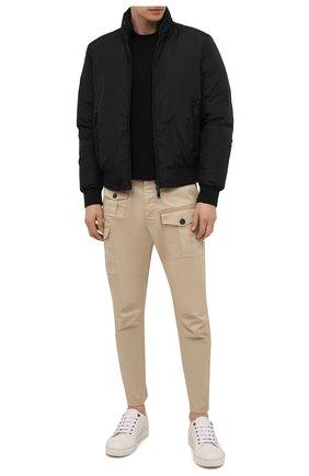 Мужские хлопковые брюки DSQUARED2 бежевого цвета, арт. S74KB0593/S39021 | Фото 2 (Материал внешний: Хлопок; Случай: Повседневный; Стили: Кэжуэл; Длина (брюки, джинсы): Укороченные)