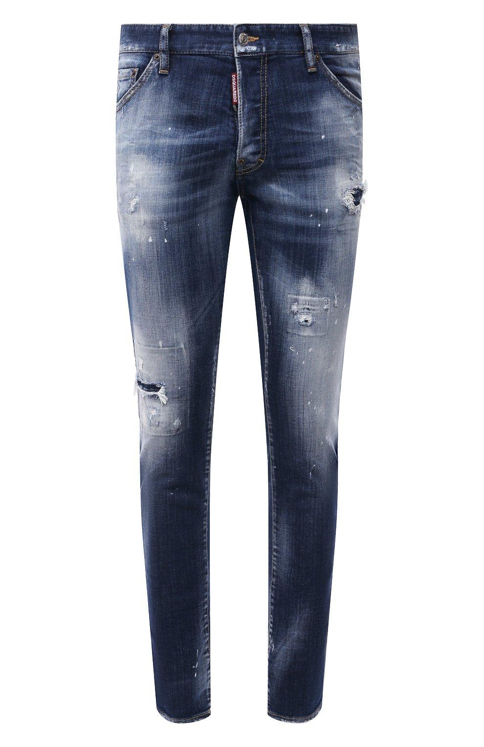 Мужские джинсы DSQUARED2 синего цвета, арт. S74LB0954/S30342 | Фото 1 (Силуэт М (брюки): Узкие; Кросс-КТ: Деним; Длина (брюки, джинсы): Стандартные; Стили: Гранж; Материал внешний: Хлопок; Детали: Потертости)