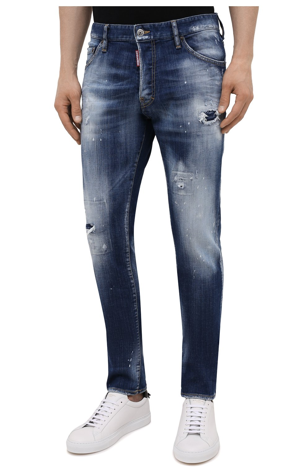 Мужские джинсы DSQUARED2 синего цвета, арт. S74LB0954/S30342 | Фото 3 (Силуэт М (брюки): Узкие; Кросс-КТ: Деним; Длина (брюки, джинсы): Стандартные; Стили: Гранж; Материал внешний: Хлопок; Детали: Потертости)