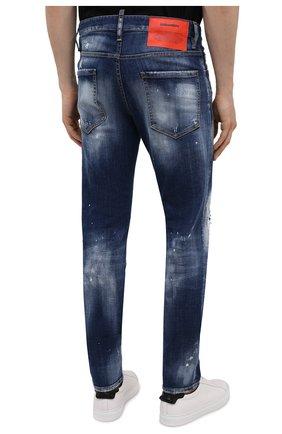 Мужские джинсы DSQUARED2 синего цвета, арт. S74LB0954/S30342 | Фото 4 (Силуэт М (брюки): Узкие; Кросс-КТ: Деним; Длина (брюки, джинсы): Стандартные; Стили: Гранж; Материал внешний: Хлопок; Детали: Потертости)