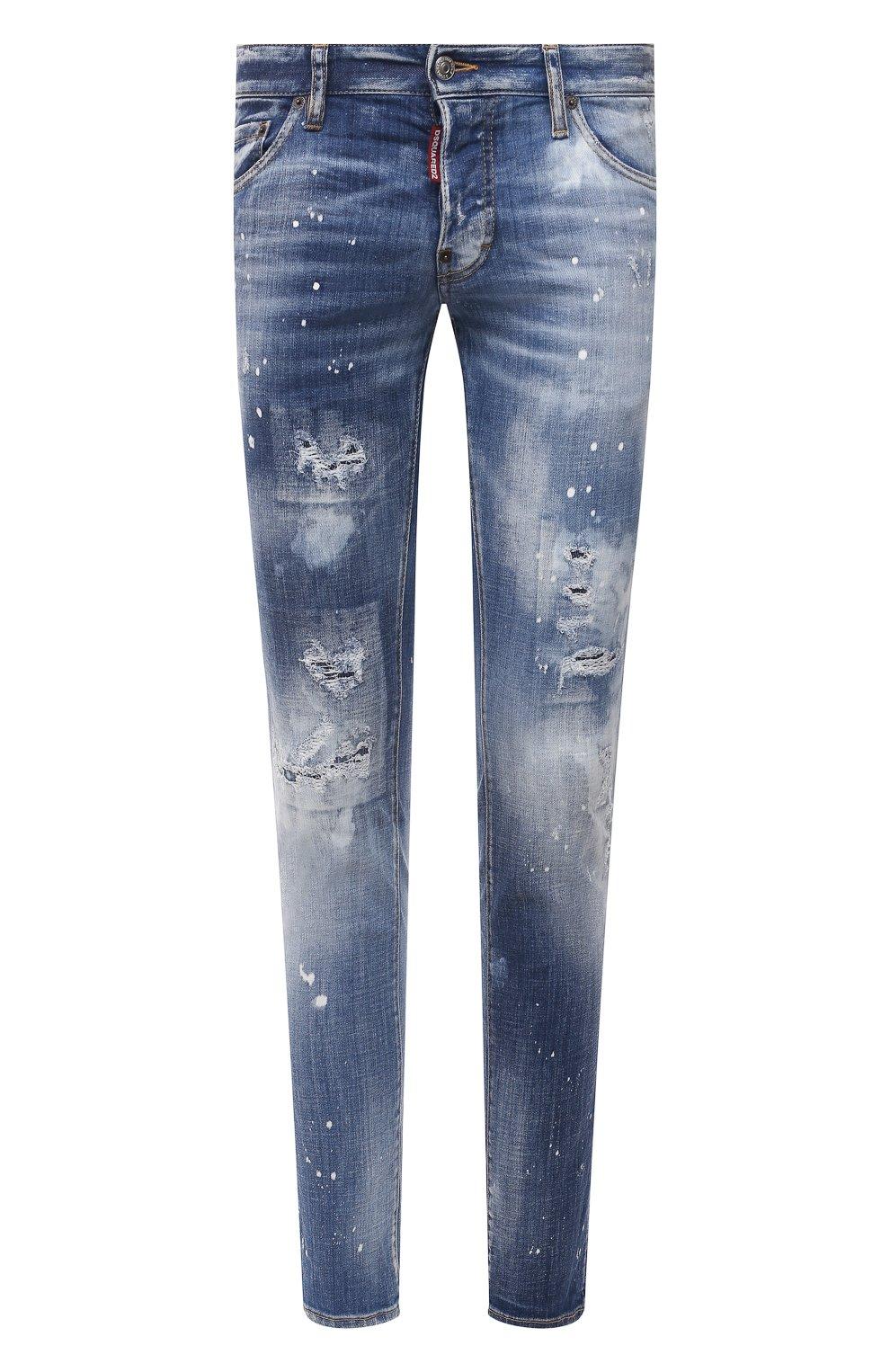Мужские джинсы DSQUARED2 синего цвета, арт. S74LB0972/S30342   Фото 1 (Силуэт М (брюки): Узкие; Длина (брюки, джинсы): Стандартные; Материал внешний: Хлопок)