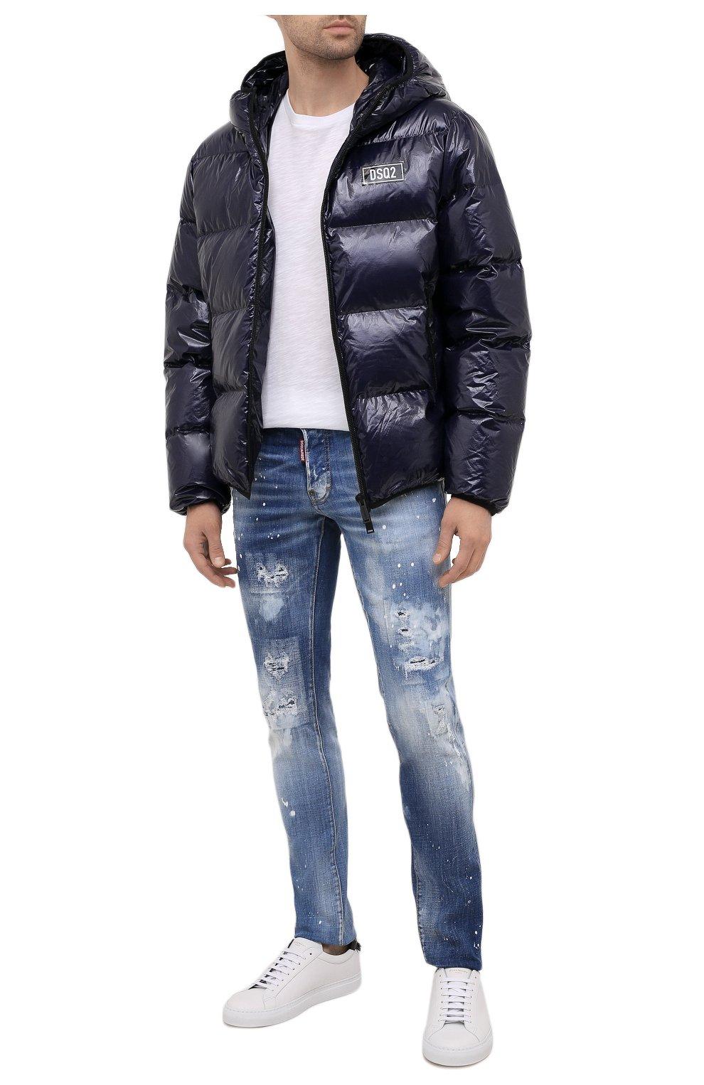 Мужские джинсы DSQUARED2 синего цвета, арт. S74LB0972/S30342   Фото 2 (Силуэт М (брюки): Узкие; Длина (брюки, джинсы): Стандартные; Материал внешний: Хлопок)