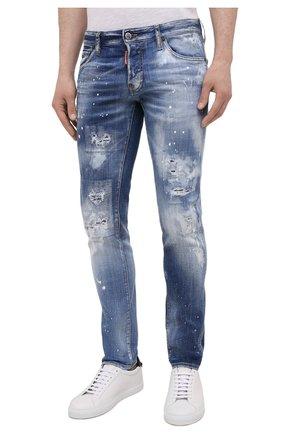 Мужские джинсы DSQUARED2 синего цвета, арт. S74LB0972/S30342   Фото 3 (Силуэт М (брюки): Узкие; Длина (брюки, джинсы): Стандартные; Материал внешний: Хлопок)
