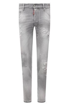 Мужские джинсы DSQUARED2 светло-серого цвета, арт. S74LB0988/S30260 | Фото 1 (Материал внешний: Хлопок; Длина (брюки, джинсы): Стандартные; Силуэт М (брюки): Узкие; Детали: Потертости; Кросс-КТ: Деним; Стили: Гранж)