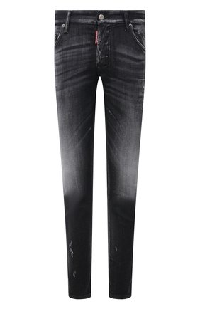 Мужские джинсы DSQUARED2 черного цвета, арт. S74LB0999/S30503 | Фото 1 (Силуэт М (брюки): Узкие; Кросс-КТ: Деним; Длина (брюки, джинсы): Стандартные; Стили: Гранж; Материал внешний: Хлопок; Детали: Потертости)