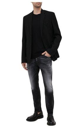 Мужские джинсы DSQUARED2 черного цвета, арт. S74LB0999/S30503 | Фото 2 (Силуэт М (брюки): Узкие; Кросс-КТ: Деним; Длина (брюки, джинсы): Стандартные; Стили: Гранж; Материал внешний: Хлопок; Детали: Потертости)