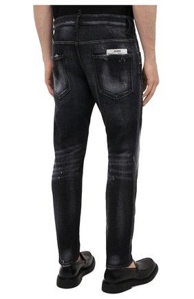 Мужские джинсы DSQUARED2 черного цвета, арт. S74LB0999/S30503 | Фото 4 (Силуэт М (брюки): Узкие; Кросс-КТ: Деним; Длина (брюки, джинсы): Стандартные; Стили: Гранж; Материал внешний: Хлопок; Детали: Потертости)