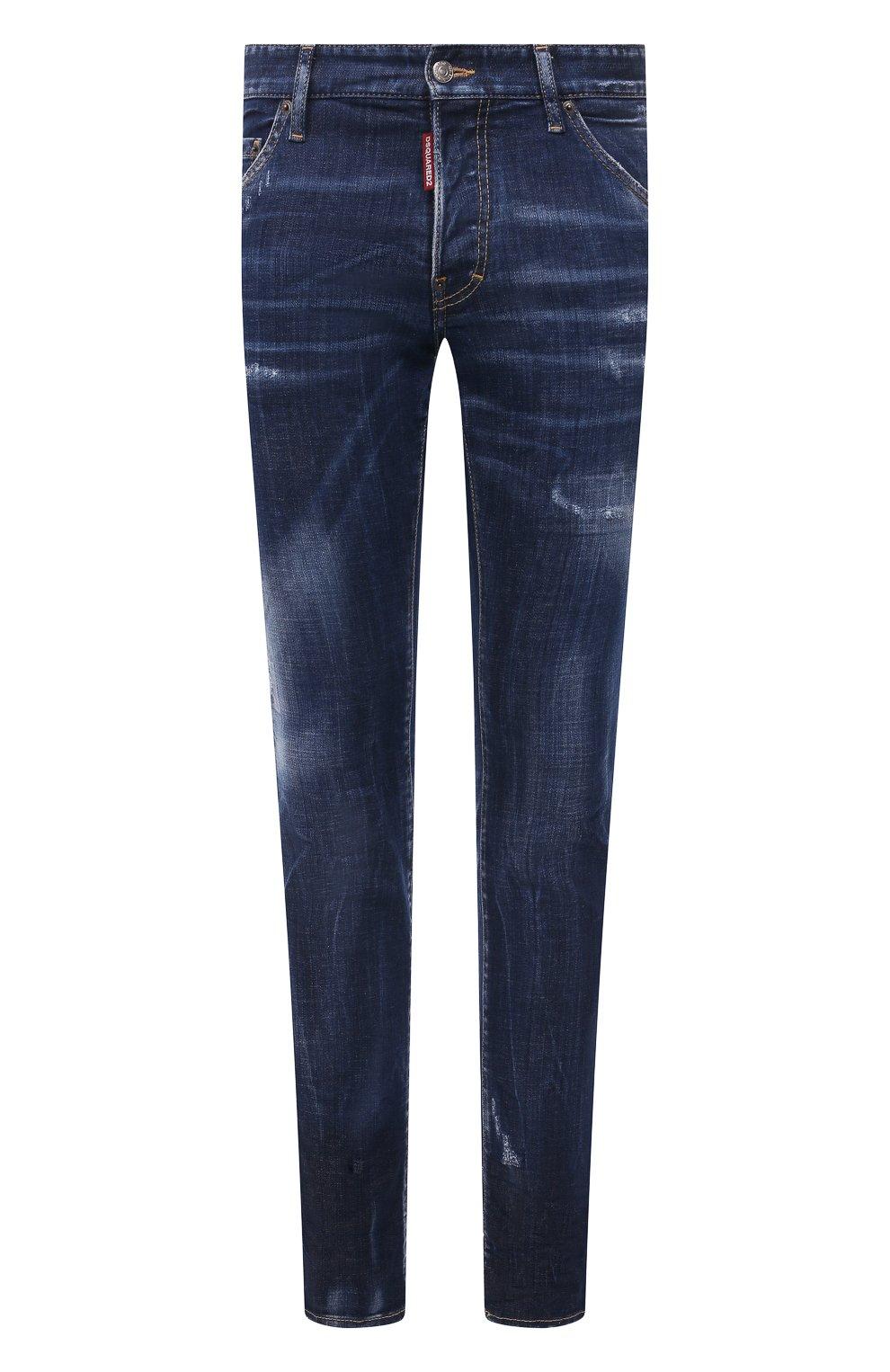 Мужские джинсы DSQUARED2 синего цвета, арт. S74LB1011/S30342 | Фото 1 (Силуэт М (брюки): Узкие; Кросс-КТ: Деним; Длина (брюки, джинсы): Стандартные; Стили: Гранж; Материал внешний: Хлопок; Детали: Потертости)